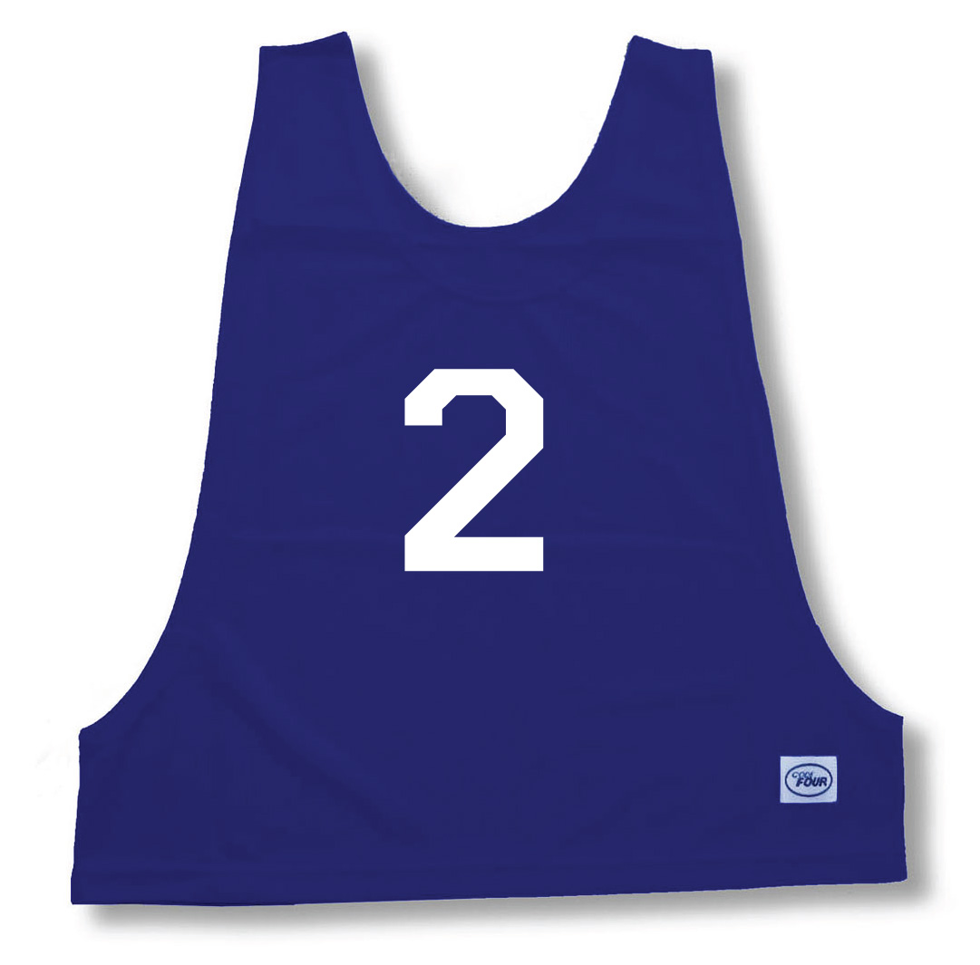 Numbered practice pinny in navy by Code Four Athletics