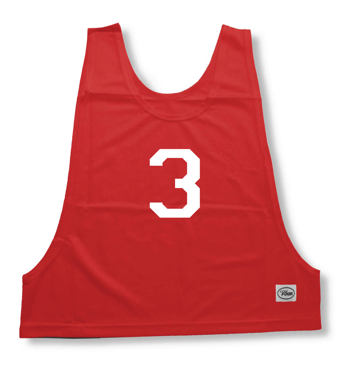 Numbered practice pinny in red by Code Four Athletics