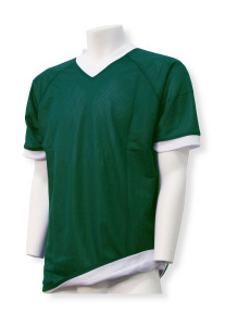 Reversible soccer jersey in forest/white