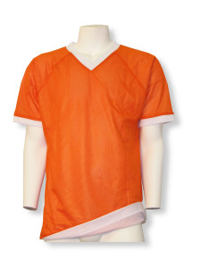 Soccer reversible jersey in orange/white