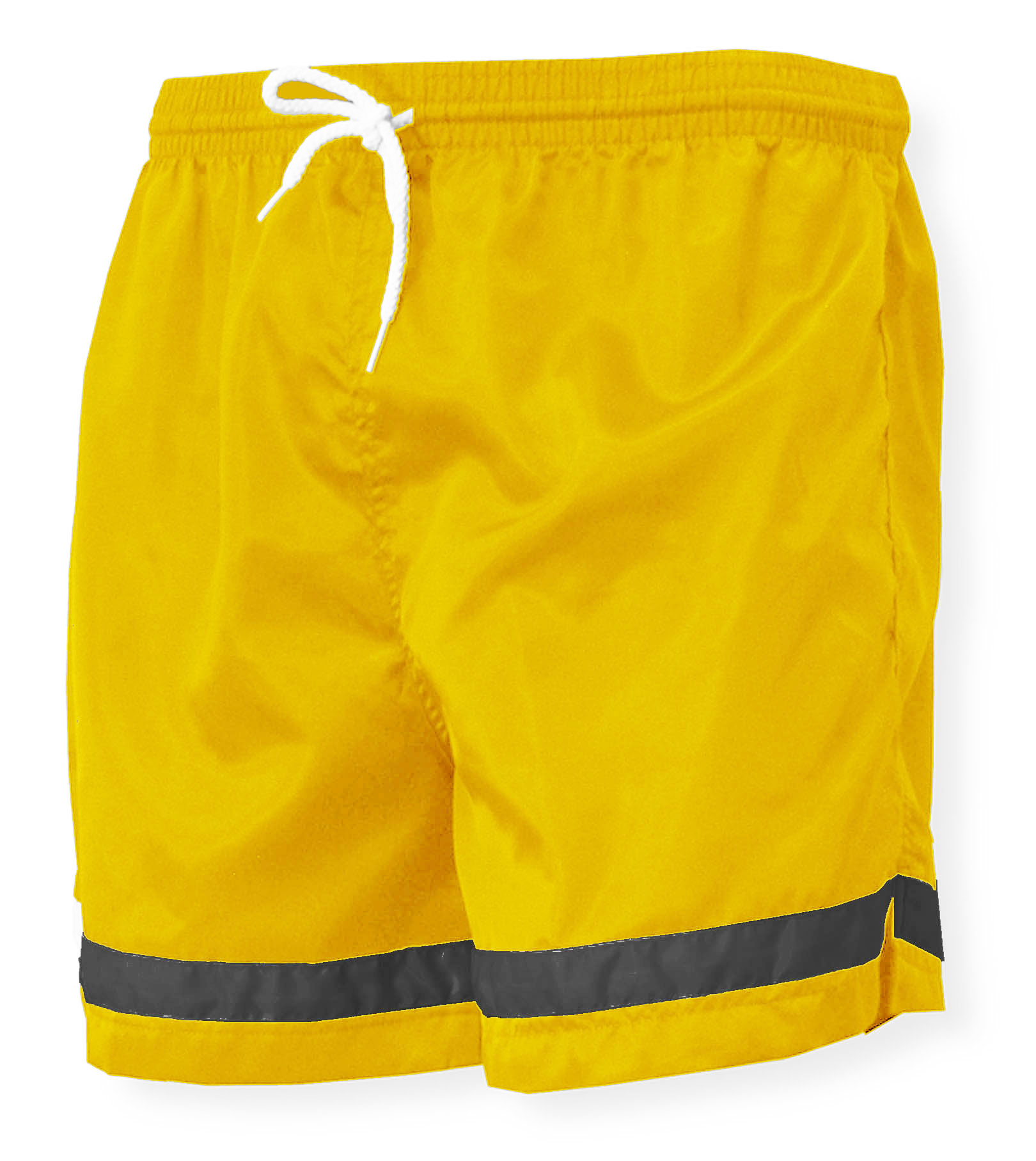 Vashon nylon soccer shorts in gold/black by Code Four Athletics
