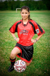 Spitfire soccer uniform on player girl